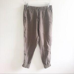 Joie Jogger Pants Linen Brown Pockets Size Medium